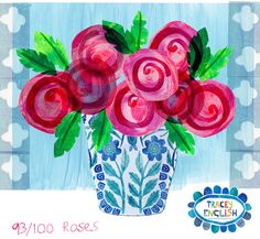 Vase of Roses by Tracey English  www.tracey-english.co.uk 100th Day, Art For Kids, The 100, Collage, Vase, Create, Sketches, Projects, English
