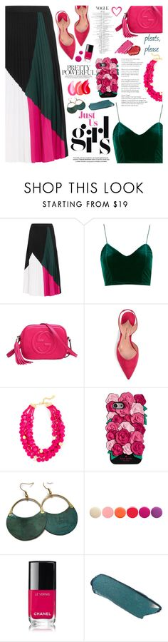 """Give Me Pleats, Please!"" by martinabb ❤ liked on Polyvore featuring Proenza Schouler, Gucci, Paul Andrew, Kate Spade, Deborah Lippmann and Chanel"
