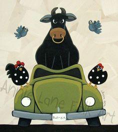 "Bull Sit by American Folk Artist  Annie Lane   11-1/4"" x 12-1/4""   This…"