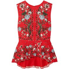Erdem Queenie floral-print cloqué peplum top (4.180 RON) ❤ liked on Polyvore featuring tops, red and erdem