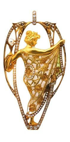 """Masriera Brothers - An Art Nouveau gold, plique-à-jour enamel, diamond and cultured pearl pendant, early 20th century. Signed """"Masriera Hs"""". 7.4 x 4cm. #Masriera #ArtNouveau"""