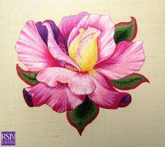 Silk shading worked by Noo B | par Royal School of Needlework - Durham