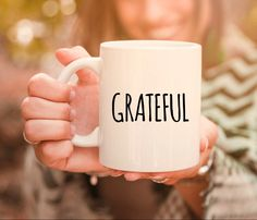 Grateful gift mug for the holiday season personalized coffee Gifts In A Mug, Fall Halloween, Grateful, Personalized Gifts, Coffee Mugs, Holiday, Etsy, Vacations, Personalised Gifts