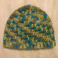 Green Blue Crochet Ribbed Slouchy Beanie Adult by SonitasYarnStash