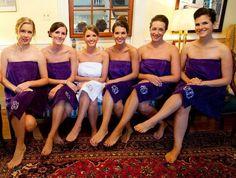 SET OF 6 Monogrammed Bath Wrap   Velour Bridesmaid by MisterandMrs, $197.70