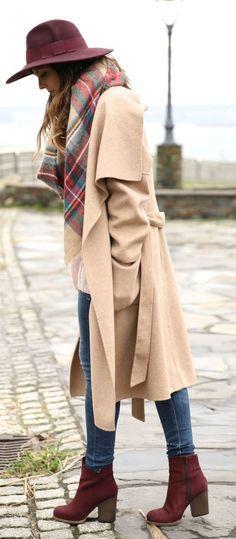Burgundy ankle boot + long coat.