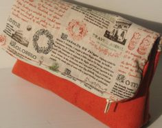 clutch, light bag, small bag, tangerine orange and text printed linen- daytime and evening clutch, foldover clutch