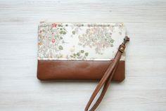 Retro floral wristlet Clutch Purse Vegan Faux leather Vintage fabric