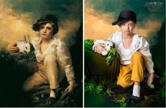 Albanian photographer Soela Zani has created a stunning series of photos, featuring children with Down syndrome as famous paintings. Boy and rabbit.