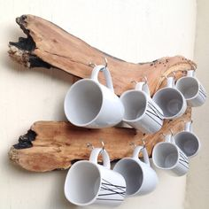 Driftwood slice mug rack. Hanging wall rack for mugs. Hooks on drift wood. Kitchen organiser mug storage display. Beach decor.