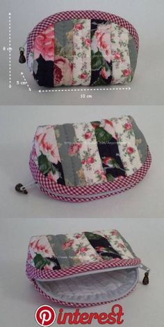 53 trendy Ideas sewing bags and purses tutorial zipper pouch Zipper Pouch Tutorial, Purse Tutorial, Tutorial Sewing, Patchwork Bags, Quilted Bag, Bag Quilt, Pochette Diy, Diy Bags Purses, Pouch Pattern