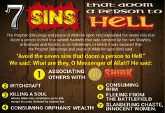 """The Prophet (saws) explained the seven sins that doom a person to Hell. Narrated by Bukhaari & Muslim. The Prophet (saws) said: """"Avoid the seven sins that doom a person to Hell."""" We said: What are they, O Messenger of Allah? He said: """"Associating others with Allah (shirk); witchcraft; killing a soul whom Allah has forbidden us to kill, except in cases dictated by Islamic law; consuming orphans' wealth; consuming riba; fleeing from the battlefield; and slandering chaste, innocent women."""""""