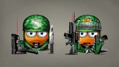 Snapzu - Characters by Diego Cáceres, via Behance  #illustration #icon #smile #emoticon #avatar #cowboy #military #soldier #evolution #gun
