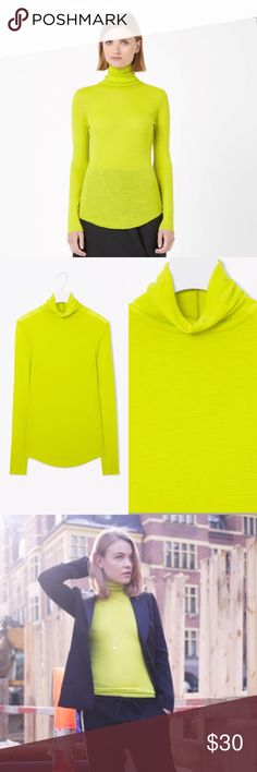 COS wool turtleneck sweater Worn once.  There color listed as lemon on COS website but I think it's more like lime color.  Size S.  This knitted roll-neck top is made from extra-fine wool with a sheer, lightly ribbed texture. A comfortable close fit, it has long sleeves and a raw-edge curved hem. Wear it on its own or as an extra lightweight layer.  100% Merino wool / Machine washable  Please ask all questions before buying. COS Sweaters Cowl & Turtlenecks