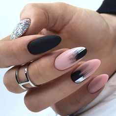 Here are 48 Fascinating Nails You Need To See! All of these nails are lov. Here are 48 Fascinating Nails You Need To See! All of these nails are lov. Black Ombre Nails, Blue Nail, Black And Nude Nails, Oval Nails, Matte Nails, Oval Nail Art, Glitter Nails, Gorgeous Nails, Pretty Nails