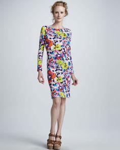 Tabitha Floral-Print Long-Sleeve Dress - Neiman Marcus