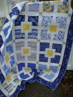 Lap Twin Quilt Blues Yellow White (posted to etsy by MaryMackMadeMine)