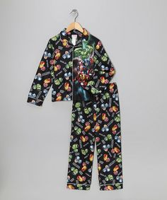 Take a look at this Black Avengers Action Button-Up Pajama Set  - Boys by Avengers on #zulily today!