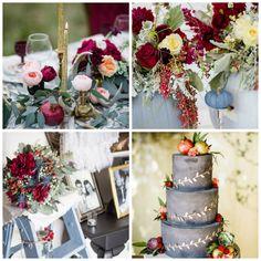 Autumnal elegance – a cranberry & dusty blue wedding theme