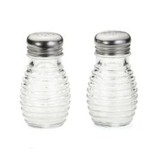 """Tablecraft Beehive Collection Glass 2 Oz Salt / Pepper Shakers - Dozen by Tablecraft Products. $11.34. Manufacturer: Tablecraft. Capacity: 2 Oz. Bee Hive Style. Clear Glass. 18/8 Stainless Steel Tops. Tablecraft Beehive Collection™ Glass 2 Oz Salt / Pepper ShakersGet away from the ordinary salt and pepper shakers with the stylish """"beehive"""" look. 2 Oz. capacity is perfect for even the busiest restaurants, and the 18-8 stainless steel tops are corrosion resistant..."""