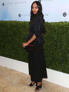 Zoe Saldana sported a peplum top paired with wide-leg cropped trousers from Victoria Beckham's collection for Target