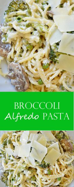 Broccoli Mushroom Alfredo Pasta- A quick and delicious recipe for a vegetables-only alfredo pasta dish featuring broccoli, mushrooms, and peas!
