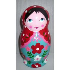 Money Box red scarf blue dress medium   #russiandoll #matryoshka #dollsindolls #decor #traditional #kids #toys #handmade