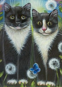 Image result for tuxedo cats painting