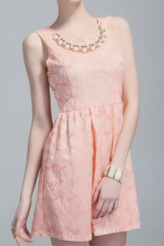 Super CUTE Pink and Gold Fashion O-neck Sleeveless Skater Dress