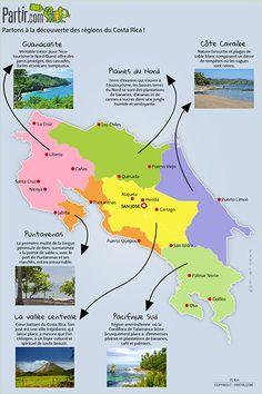 Carte des régions COSTA RICA