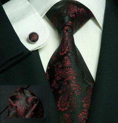 Landisun 660 Black Red Paisleys Mens Silk Tie Set