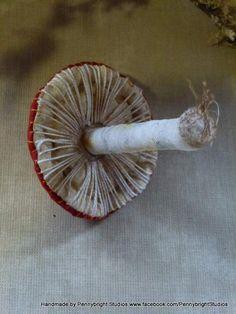 Fabric art, soft sculpture Mushroom Toadstool Fungus Funghi by Pennybright Studios