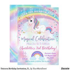 Unicorn Themed Birthday Party, Unicorn Birthday Invitations, 3rd Birthday, Birthday Party Themes, Birthday Ideas, Birthday Banners, Birthday Crafts, Happy Birthday, Unicorn Costume