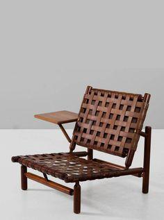 Ilmari Tapiovaara Rare Leather Strap Lounge Chair