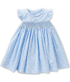 Edgehill Collection Baby Girls 3-24 Ditsy Floral-Print Flutter-Sleeve Smocked Dress