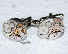 Cool Steampunk Watch Cufflinks for the Groom. $48. #gadget #Steampunk #groom