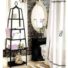 Love this for guest bath - black & white, the wallpaper and he shelf!! I love French inspired designs!