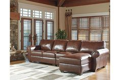 Shop Ashley Furniture Lugoro Saddle LAF Chaise Sectional with great price, The Classy Home Furniture has the best selection of Sectionals to choose from Living Room Sectional, Living Room Furniture, Home Furniture, 3 Piece Sectional Sofa, Small Sectional, Couch Sofa, Ashley Sectional, Nebraska Furniture Mart, Leather Sectional
