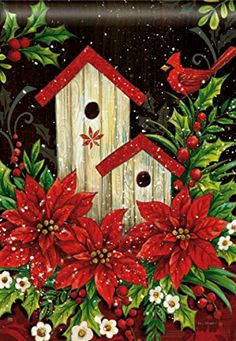 Decorative Garden Flags, Yard Flags, Mailbox covers and seasonal decorations from Discount Decorative Flags Christmas Bird, Christmas Poinsettia, Christmas Flowers, Christmas Scenes, Christmas In July, Christmas Pictures, Christmas Projects, Winter Christmas, All Things Christmas