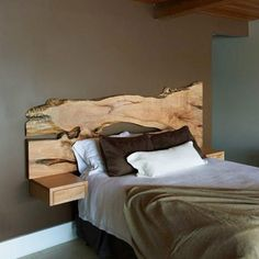 Live Edge Design Inc. - live edge, slab wood tables and furniture Now this is rustic, yet has clean modern lines. Alot prettier than a typical 'log' bed. Live Edge Furniture, Wood Furniture, Furniture Design, Rustic Wooden Headboard, Floating Headboard, Cool Headboards, Headboard Ideas, King Headboard, Bed Plans