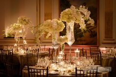 White, candlelit, romantic  New York Palace Hotel  Diana Gould Ltd photos by Brian Dorsey