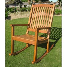 International Caravan Royal Tahiti Large Outdoor Wood Rocking Chair