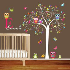 Swirl Tree Vinyl Wall Decal set with leaves,flowers birds,owls vinyl wall decal sticker nursery colorful