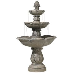 Decorate a garden area with this three-tier traditional fountain featuring a decorative leaf motif. Finished in a faux stone for a natural, appealing look and feel. Relaxing and tranquil, this design can also be displayed indoors.