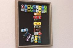 Letter made with cars, for boy's bedroom. - Great idea for Sam's big boy room!