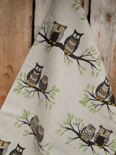 Owl Towel Linen Towel Tea Towel Kitchen Towel Gift for Mom Woodland Owl Dish Towel Owl Ornament Owl Decor Christmas Gift
