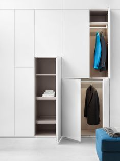 Line is a purist, handle-free storage system, in which the exciting interplay between the doors, drawers and open compartments creates an aesthetic visual. Wardrobe Design, Built In Wardrobe, Armoire Entree, Etagere Design, Bedroom Cupboards, Fitted Wardrobes, Cupboard Design, Bedroom Wardrobe, Walk In Closet
