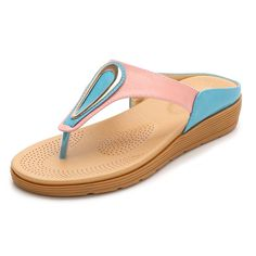 Women Bohemia Colorful Soft Flip Flops Beach Slippers with Metal Decoration is comfortable to wear. Shop on NewChic to see other cheap women sandals on sale. Bedroom Slippers, Baby Slippers, Slipper Socks, Beach Flip Flops, Sandals Outfit, Leather Slippers, Sandals For Sale, Casual Shoes, Ladies Sandals
