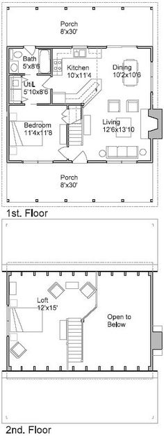 Cabin Plan and Blueprint - Cohutta Cabin Plan 980 total sf Cabin Floor Plans, Small House Plans, Plans Architecture, Cottage Plan, Cabins And Cottages, Tiny House Living, Bungalow, Cabins In The Woods, Little Houses