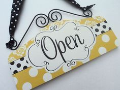Ready to Ship Golden Mustard Yellow CLASSY Open Closed Signs for Shop Cute OPEN CLOSED Front Door Signage